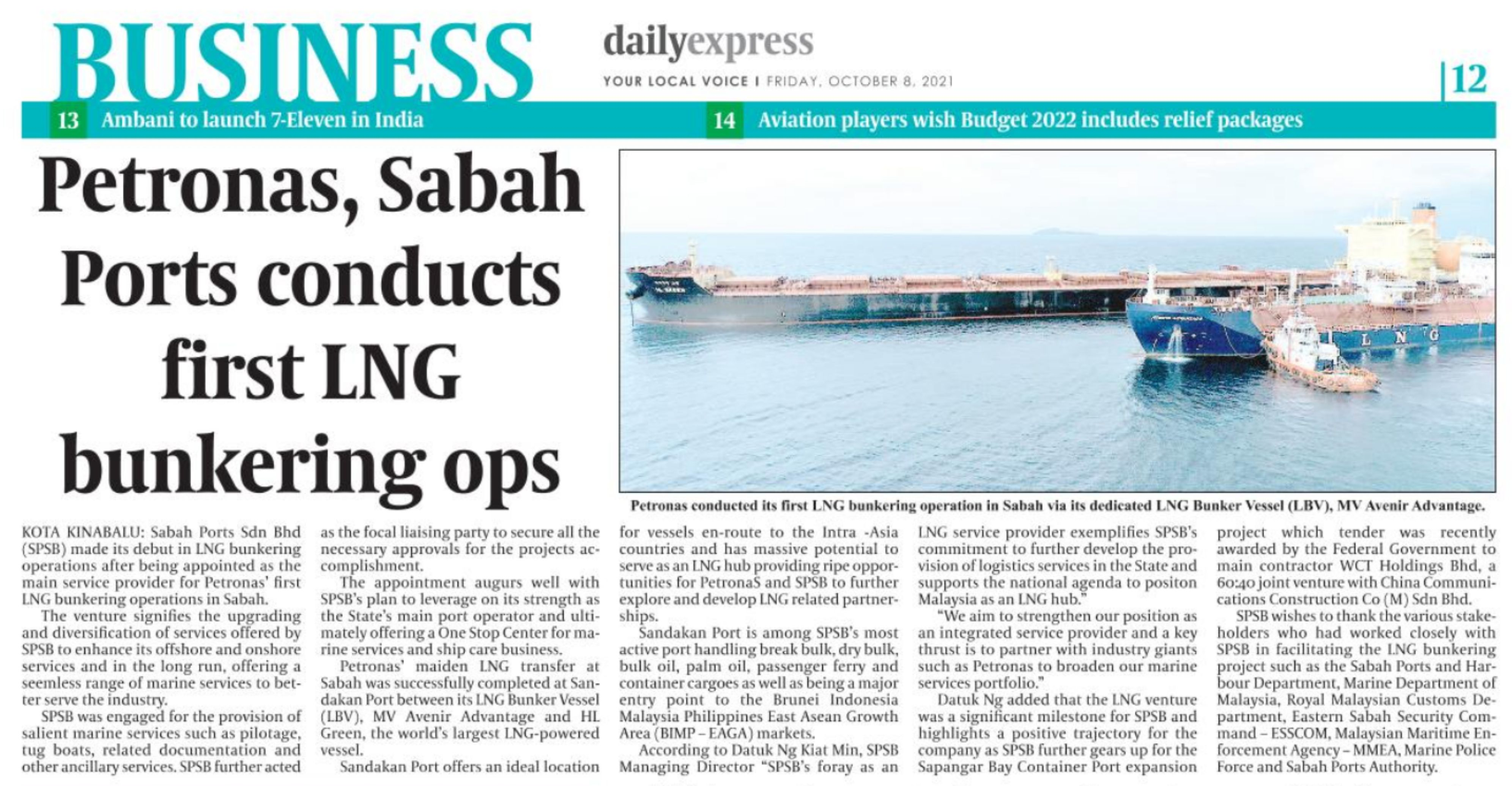 Petronas, Sabah Ports Conducts First LNG Bunkering Ops