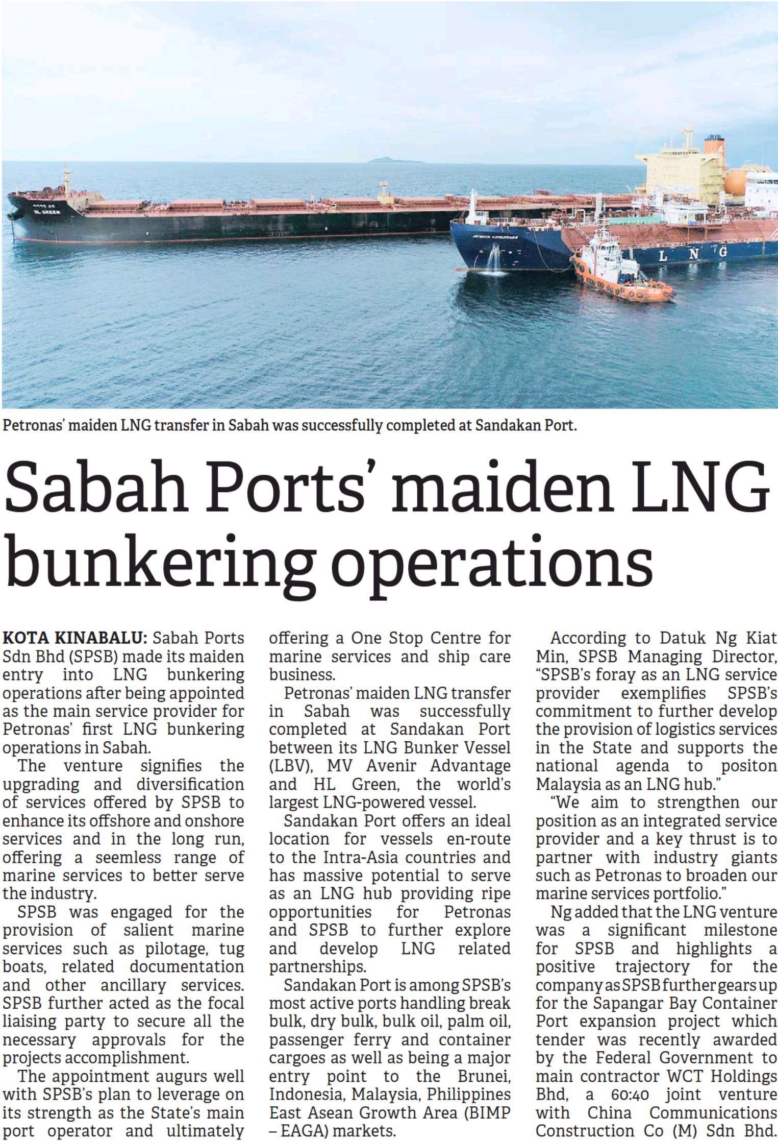 Sabah Ports' Maiden LNG Bunkering Operations