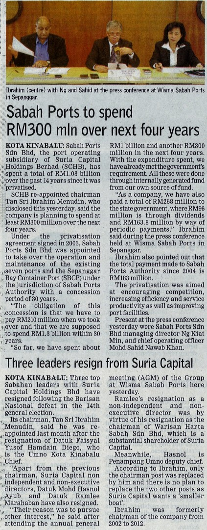 Sabah Ports to Spend RM300 Mln Over Next Four Years