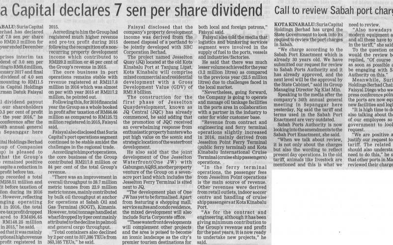 Suria Capital Declares 7 sen per Share Dividend
